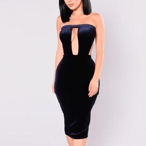 Donelle Velvet Dress - Navy